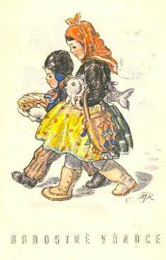 Old Czech Christmas Card Marie Kvěchová-Fischerová