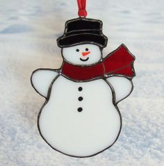 mr mrs snowman candle holder stained glass - Google Search