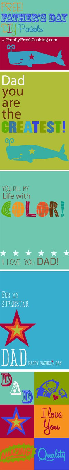 *FREEBIE* Father's Day Printable Cards on FamilyFreshCooking.com © MarlaMeridith.com #DIY #Crafts