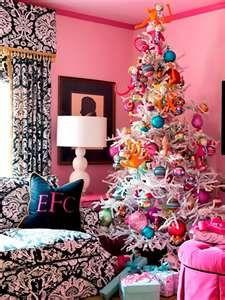 whimsical pink Christmas tree .