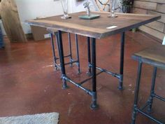 Pub Table With Two Stools Black Walnut And Iron Pipe Industrial Pub Table Industrial Table Legs, Industrial Furniture, Modern Industrial, Industrial Lamps, Industrial Living, Furniture Vintage, Vintage Industrial, Pipe Furniture, Furniture Making