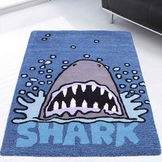 Kids shark rugs in blue buy online from the rug seller uk Marvel Bedroom, All Sharks, Shark Bait, Funky Design, Room Setup, Classroom Activities, Baby Room, Playroom, Kids Room
