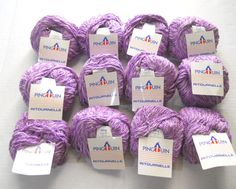 Vintage Pingouin Ritournelle Purple Yarn Lot Of 12 Balls Crochet Knitting France #Pingouin