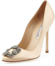 Hangisi 105 light blush satin pumps Manolo Blahnik 76WTFCX