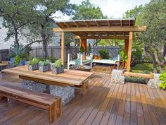 covered pergola | Ceder Deck with Attached Covered Pergola