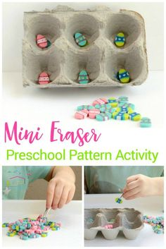 Do you have mini erasers lying around? They are collectible and also educational! This mini eraser pattern activity is fun for preschoolers! via @lifeovercs