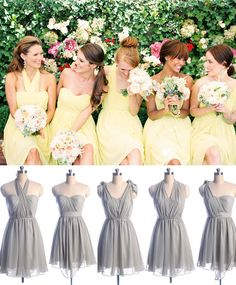light yellow and gray short mismatched bridesmaid dresses for wedding 2015