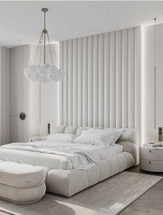 White Bedroom Decor, Master Bedroom Interior, Modern Bedroom, Tall Headboard, White Headboard, Park Lodge, White Velvet, Upholstered Beds, Aesthetic Bedroom