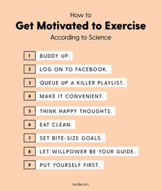 I dont agree with no.2, but rest seems good! ;) lets stay motivated, lets work out!  Psychologists Agree: This Is How to Motivate Yourself to Work Out via @ByrdieBeauty