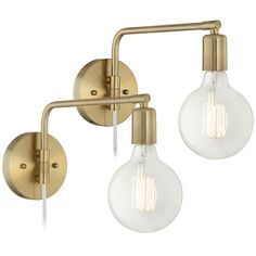 Antique Brass Swing Arm Wall Lamps Set of 2
