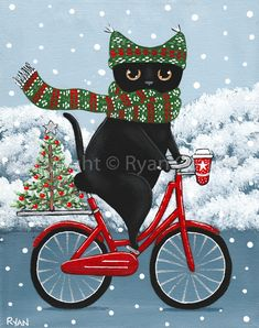 Christmas Tree And Coffee Bicycle Ride Original Black Cat Folk Art Painting Christmas Tree And Coffee Bicycle Ride Original Black Cat Folk Art Painting By Kilkennycat Art 85 00 Usd Copyright Ryan Conners Christmas Tree Painting, Mini Christmas Tree, Christmas Tree Themes, Christmas Cats, Christmas Coffee, I Love Cats, Crazy Cats, Here Kitty Kitty, Cat Art