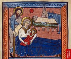Detail of a miniature from the prefatory cycle of the Nativity, with the Virgin suckling the Child and Joseph adjusting her pillow.   Origin:England, Central (Oxford)