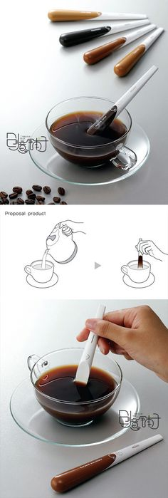 With Maxim instant coffee, you don't need spoon anymore, just put the coffee stick into water and stir it until coffee melt completely, great concept