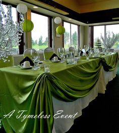 Buffet table set up cool idea should be in the middle set up for green apples in cylinder centerpiece royal regina golf clubchocolate brown apple green scottish wedding themesscottish junglespirit Image collections
