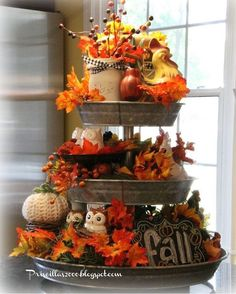 It is time for the Fall version of my galvanized tiered tray . A little Fall chalkboard in the bottom center. Thanksgiving Decorations, Seasonal Decor, Holiday Decor, Fall Decorations, Harvest Table Decorations, Fall Centerpiece Ideas, Thanksgiving Ideas, Wedding Centerpieces, Tray Decor