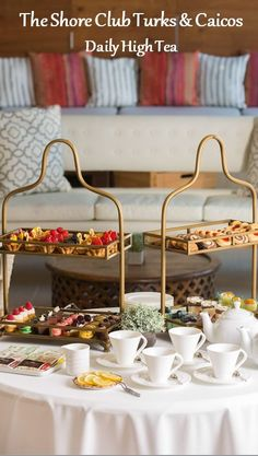 Daily High Tea at The Shore Club Turks & Caicos Best Hotels, Amazing Hotels, The Turk, Turks And Caicos, High Tea, Dishes, Table Decorations, Dining, Travel Guide