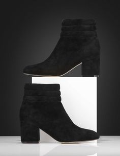 Vouet boots-Women's mid-heel ankle boot in suede. Features padded shaft with stitching detail and zip fastening on inside. Fits true to size, take your normal size Mid Heel Ankle Boots, Leather Interior, Women's Shoes, Stitching, Booty, Zip, Detail, Heels, Black