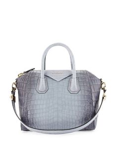 Antigona Small Crocodile Bag, Gray by Givenchy at Neiman Marcus.