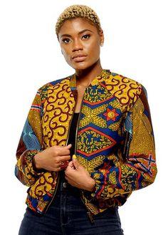 Kanina Women's African Print Bomber Jacket (Multipattern)