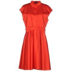 Tara Jarmon Short Dress ($252) ❤ liked on Polyvore featuring dresses, red, zipper dress, cotton shirt dress, short sleeve dress, short red dress и mini dress