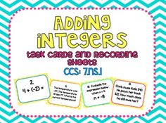 Adding Integers Task Cards and Recording Sheets CCS 7.NS.1