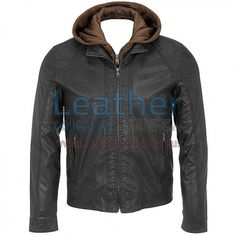 Leather Jacket with Hood Black, Genuine Leather 0.9 - 1.0 mm, Original YKK Full Zipper Front, cuffs and Pockets, Full-zip front with stand-up collar; zip-out hooded bib, Snaps at cuffs, Zipper hand pockets, Ribbed hem on back panel
