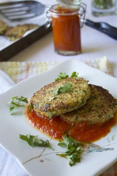 Cauliflower Quinoa cakes with roasted peppers and tomato sauce