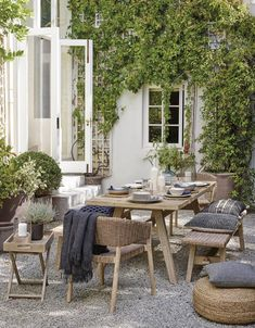 Buy Croft Collection Burford Garden Woven Dining Chairs, Set of FSC-Certified (Acacia Wood), Natural from our Garden Seating range at John Lewis & Partners. Concrete Patios, Backyard Patio, Patio Stone, Flagstone Patio, Patio Dining, Patio Table, Dining Room, Outdoor Dining Set, Dining Chairs
