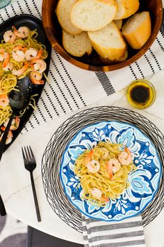 Summer Recipe: Simple Sizzling Shrimp Scampi and how to use what you have at home for an easy summer tablescape for entertaining featured by popular Florida lifestyle blogger Fresh Mommy Blog