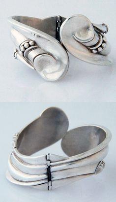 Clamper Bracelet | Margot de Taxco.  Sterling silver.  1950.