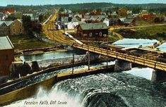 Fenelon Falls Historical view of the falls. Ontario Cottages, Peterborough Ontario, Picture Postcards, Types Of Photography, Historical Pictures, Tourism, Waterfall, Beautiful Places, Victoria