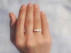 14k Rose Gold Pearl Ring