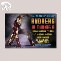 Iron Man Marvel Design Birthday Party Card Digital Invitation Kid Birthday Party…
