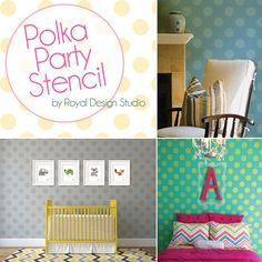 Polka Dot stencil patterns for wall and furniture stenciling | Royal Design Studio Stencils