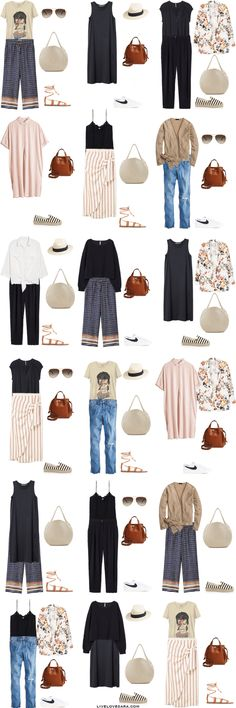 32 Trendy travel style summer outfit ideas what to wear Travel Packing Outfits, Travel Capsule, Packing Clothes, Travel Outfit Summer, Summer Travel, Travel Wardrobe Summer, Capsule Wardrobe Summer, Packing Light Summer, Holiday Wardrobe