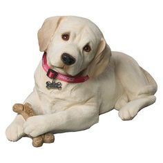 Sandicast Life Size Yellow Labrador Retriever Pup Sculpture - Laying - LS342