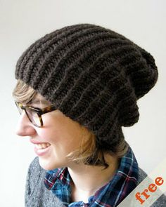 simple slouchy hat from cocoknits: the top looks neater than most hat patterns (that are just scrunched at the top)