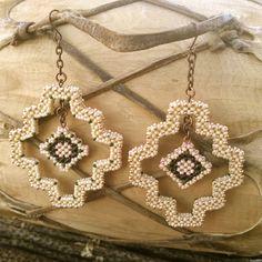 Navajo Diamond Earrings in Bone and Copper by TSOul
