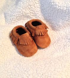 Baby Moccasins Suede Rusty Brown Fringe, Baby gift