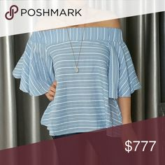 """CHIC Off The Shoulder top NWT Brand new with tags   I am in love this this top! The fit & style is absolutely perfect for the season! Beautiful & feminine off the  shoulder style with playful flutter sleeves,classy color combo & timeless pinstripe. Get your favorite denim shirts or your white pants & heels ladies!!  65%polyester 35%cotton S:Bust 17.5 across Length 20"""" M:Bust 18"""" across Length 20"""" L:Bust 19"""" acrossLength 21 XL: Bust 20""""across Length 22""""     vacation cruise getaway party event…"""