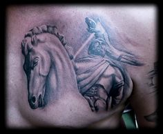 Soldier riding his horse while holding a dacian wolf tattoo..............https://www.facebook.com/pages/BAStattoo-GALLERYart-caffe/124021327663799?fref=ts