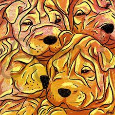 Shar pei puppies by SiberianArt on Etsy, $30.00