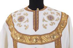 Embroidery on the sakkos, $1,150.00, This set includes 7 items: sakkos, epitrachelion, cuffs (epimanikia), belt (zone), small omophorion, big omophorion, epigonation (palitsa). Catalog of St. Elisabeth Convent. About workshop  http://catalog.obitel-minsk.com/sewing-workshop #russian #orthodox #bishop #vestment #sewn #goods #Christianity #orthodoxy #handmade #art #beauty #ecclesiastical #CatalogOfGoodDeed #church