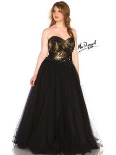 Black Strapless Plus Size Prom Dress | Mac Duggal 76483R