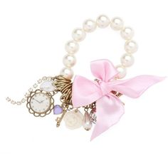 Pearl Charms and Bow Stretch Bracelet ($8.23) ❤ liked on Polyvore featuring jewelry, bracelets, accessories, pink, fillers, women's clothing, pearl charm bracelet, bracelet bangle, pearl charm and pearl jewelry