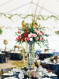 Lush Tall Wedding Floral Centrepiece // Photography ~ Maria Lamb