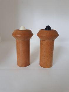 Mid Century Modern Danish Wood Salt and Pepper Grinders Danish Modern, Mid-century Modern, Salt And Pepper Grinders, Dinner Table, I Shop, Mid Century, Canning, Wood, Retro