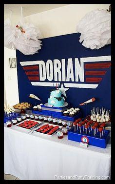Planes and Pilots Birthday Party - Top Gun Inspired. I found Jonathan's next birthday theme! 2 Birthday, Planes Birthday, Planes Party, Airplane Party, First Birthday Parties, Birthday Party Themes, Birthday Ideas, Birthday Stuff, Theme Parties