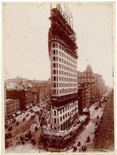 Flatiron Building under construction, 1902 by Olde New York, via Flickr