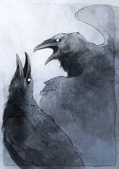 Huginn et Muninn (corbeaux de Odin) by ~Woari on deviantART